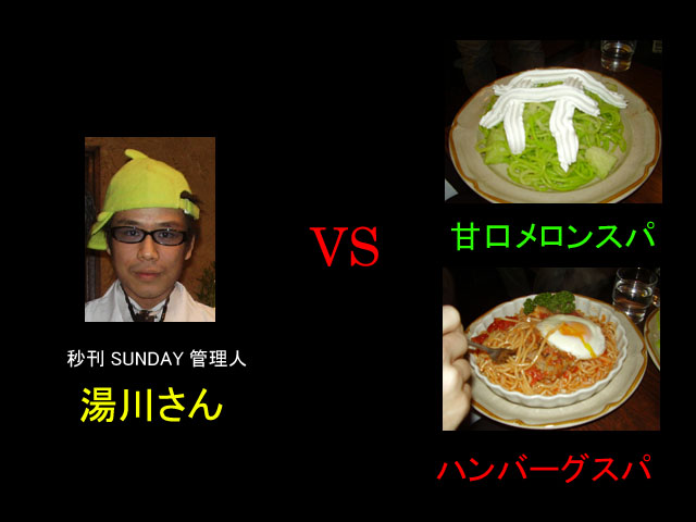 湯川さん vs ハンバーグスパ+甘口メロンスパ